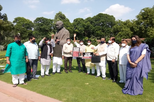 Congress MPs protest at the Gandhi statue.