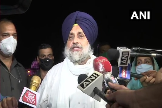 SAD president Sukhbir Singh Badal said the party's future course of action and whether to stay in the NDA or not will be decided in a party meeting later. (Image credit: ANI Twitter)