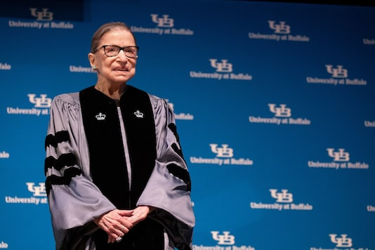 U.S. Supreme Court Justice Ruth Bader Ginsburg smiles  during a reception where she was presented with an honorary doctoral degree at the University of Buffalo School of Law in Buffalo, New York, U.S., August 26, 2019.  REUTERS/Lindsay DeDario - RC1A5ECEAC20