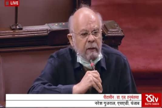 Shiromani Akali Dal leader Naresh Gujral speaks in the Rajya Sabha.