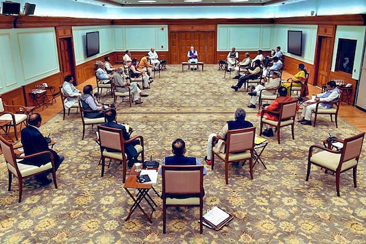 File photo of Prime Minister Narendra Modi chairing a cabinet meeting as per the Covid-19 safety guidelines. (PTI)