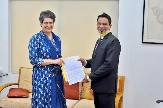 Priyanka Gandhi and Dr Kafeel Khan in Delhi on Monday.