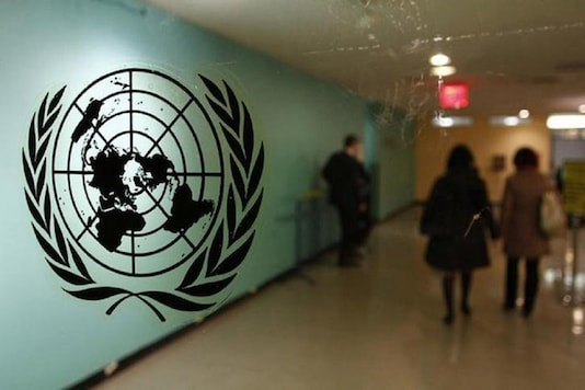 The United Nations logo is displayed on a door at UN headquarters in New York. (Reuters)