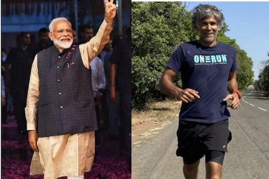 File photo of PM Modi and Milind Soman