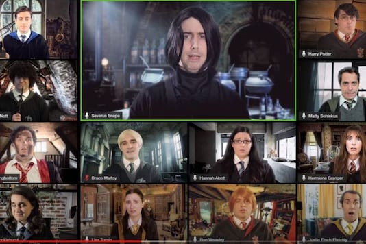 Video grab of Hogwarts doing online classes. (Credit: YouTube/ @The Warp Zone)
