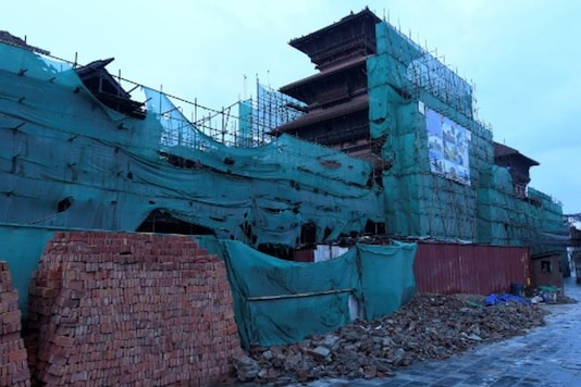 A view of the empty construction site of the Durbar Square damaged during the 2015 earthquake in Kathmandu. (AFP)