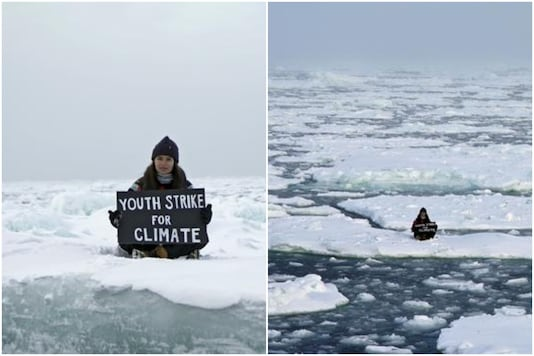British teen climate change activist Mya-Rose Craig protested against climate change by sitting on an a sheet of floating ice in the Arctic | Image credit: Reuters