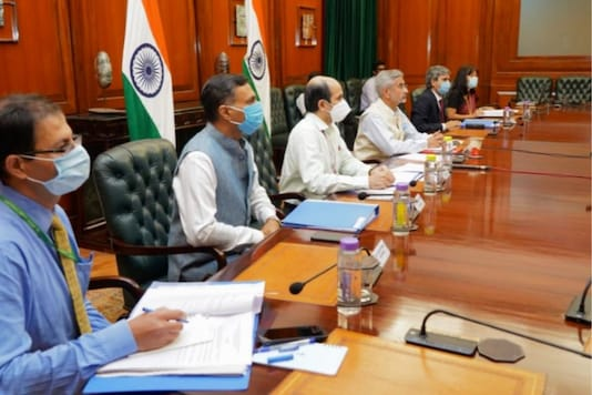 EAM Dr S Jaishankar and other MEA officials during the CICA meet on Thursday (Picture Courtesy: Twitter @DrSJaishankar)