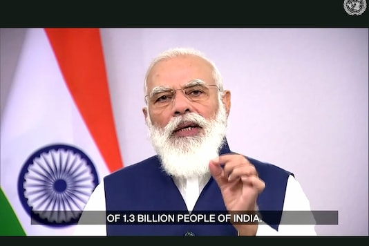 In this photo made from UNTV video, PM Narendra Modi speaks in a pre-recorded message which was played during the 75th session of the United Nations General Assembly, on September 26, 2020, at UN Headquarters. (UNTV Via AP)