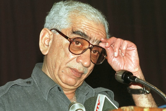 In this file photo, Jaswant Singh gestures during his speech on the fallout of Kargil in New Delhi on July 20, 1999. He died in New Delhi on September 27, 2020.