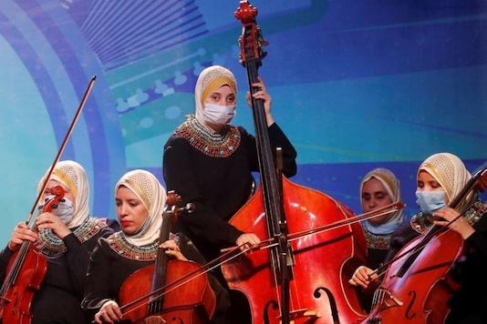 Egyptian orchestra group for visually-impaired women. (Credit: Twitter)