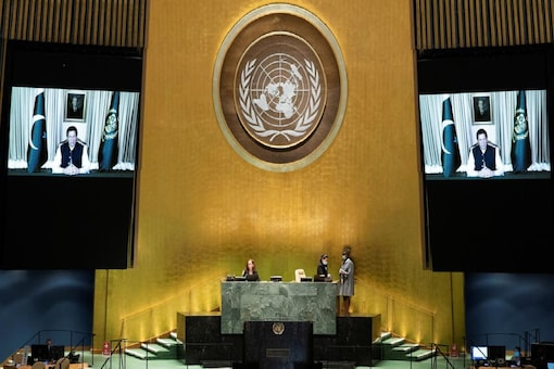 Pakistan Prime Minister Imran Khan speaks virtually during the 75th annual UN General Assembly on September 25. (Reuters)