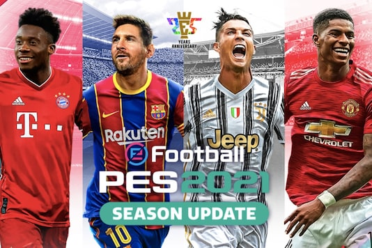 eFootball Pro Evolution Soccer 2021 Season Update, feat. Alphonso Davies, Lionel Messi, Cristiano Ronaldo and Marcus Rashford on the cover. (Image: Konami)