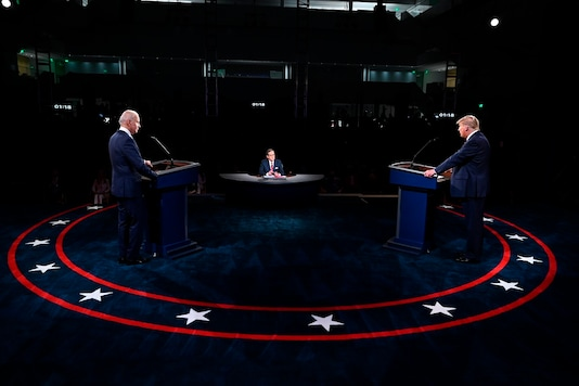 President Donald Trump and Democratic presidential candidate former Vice President Joe Biden participate in the first presidential debate Tuesday, Sept. 29, 2020, at Case Western University and Cleveland Clinic, in Cleveland, Ohio. (Olivier Douliery/Pool vi AP)