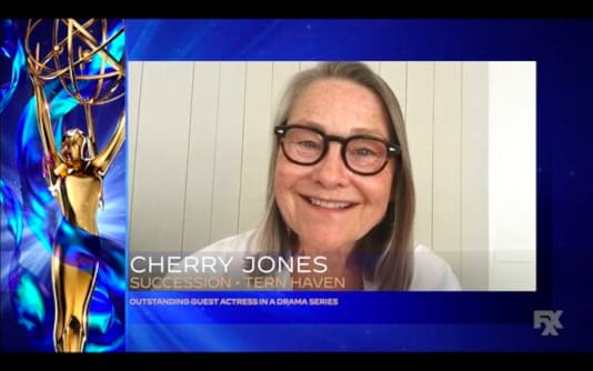 In this video grab issued Saturday, Sept. 19, 2020 by The Television Academy, Cherry Jones accepts the award for outstanding guest actress in a drama series for