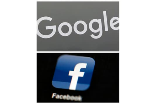 FILE - This combination of file photos shows a Google sign and the Facebook app. Global digital platforms The author of proposed Australian laws to make Facebook and Google pay for journalism said Thursday, Sept. 17, 2020, in Australia, his draft legislation will be altered to allay some of the digital giants concerns, but remain fundamentally unchanged. (AP Photo/File)