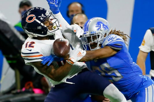 Detroit Lions cornerback Darryl Roberts (29) breaks up a pass intended for Chicago Bears wide receiver Allen Robinson (12) in the second half of an NFL football game in Detroit, Sunday, Sept. 13, 2020. (AP Photo/Duane Burleson)