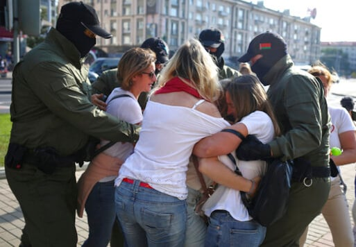 Police detain protesters during an opposition rally to protest the official presidential election results in Minsk, Belarus, Saturday, Sept. 26, 2020. Hundreds of thousands of Belarusians have been protesting daily since the Aug. 9 presidential election. (AP Photo/TUT.by)