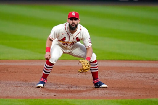 St. Louis Cardinals third baseman Matt Carpenter takes up his position during the third inning of a baseball game against the Milwaukee Brewers Saturday, Sept. 26, 2020, in St. Louis. (AP Photo/Jeff Roberson)