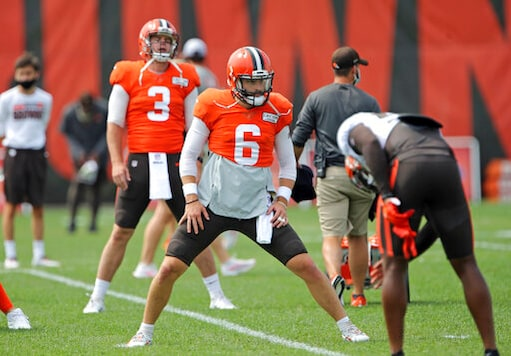 Cleveland Browns quarterback Baker Mayfield stretches before practice Tuesday, Sept. 1, 2020, in Berea, Ohio. (Joshua Gunter/Cleveland.com via AP)