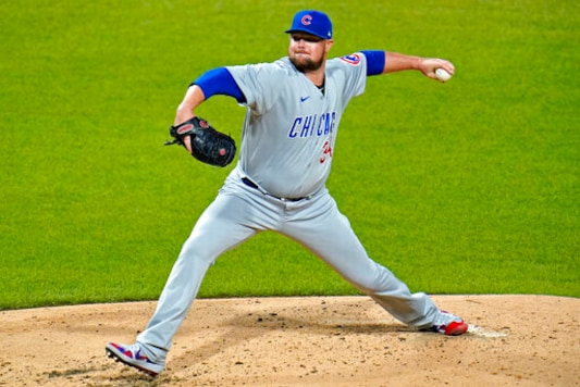 Chicago Cubs starting pitcher Jon Lester delivers during the third inning of a baseball game against the Pittsburgh Pirates in Pittsburgh, Monday, Sept. 21, 2020. (AP Photo/Gene J. Puskar)