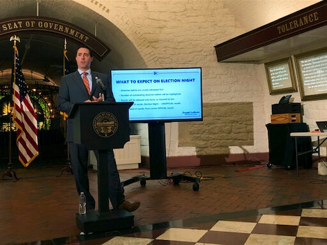 Ohio Secretary of State Frank LaRose briefs reporters on election preparations at the Ohio Statehouse in Columbus, Ohio, on Tuesday, Sept. 8, 2020. (AP Photo/Julie Carr Smyth)