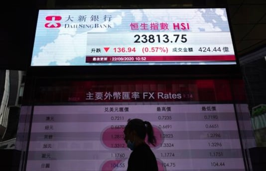 A woman wearing a face mask walks past a bank's electronic board showing the Hong Kong share index at Hong Kong Stock Exchange Tuesday, Sept. 22, 2020. Shares slipped Tuesday in Asia after markets tumbled worldwide on worries about the pandemics economic pain. (AP Photo/Vincent Yu)