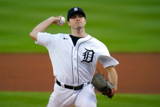 Detroit Tigers pitcher Casey Mize throws against the Cleveland Indians in the first inning of a baseball game in Detroit, Thursday, Sept. 17, 2020. (AP Photo/Paul Sancya)
