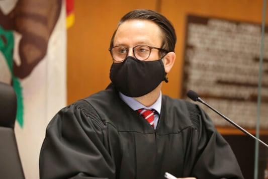 Judge Miguel Espinoza speaks during actor Danny Masterson's arraignment in Los Angeles Superior Court in Los Angeles, Friday, Sept. 18, 2020. Masterson, from