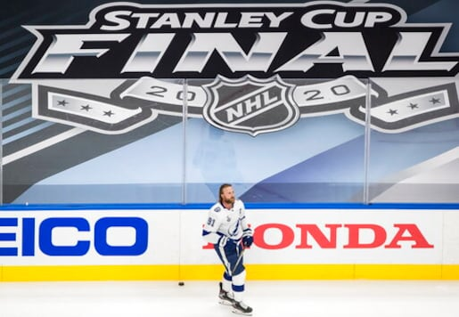 Tampa Bay Lightning center Steven Stamkos warms up for Game 3 of the team's NHL hockey Stanley Cup Final against the Dallas Stars, Wednesday, Sept. 23, 2020, in Edmonton, Alberta. (Jason Franson/The Canadian Press via AP)