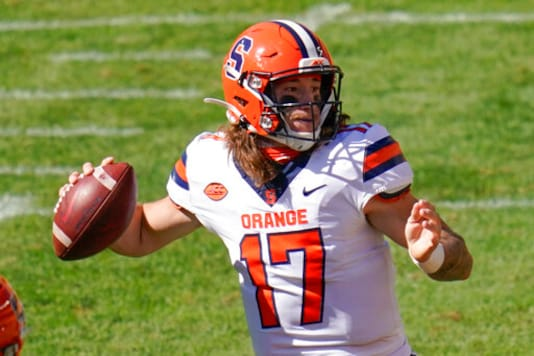 Syracuse quarterback Rex Culpepper (17) throws a pass against Pittsburgh during the second half of an NCAA college football game, Saturday, Sept. 19, 2020, in Pittsburgh. (AP Photo/Keith Srakocic)