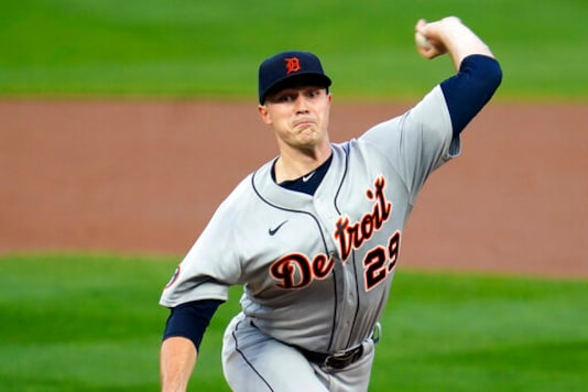 Detroit Tigers pitcher Tarik Skubal throws against the Minnesota Twins in the first inning of a baseball game Tuesday, Sept. 22, 2020, in Minneapolis. (AP Photo/Jim Mone)