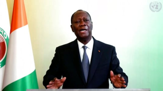 In this image made from UNTV video, Alassane Ouattara, President of Cote d'Ivoire, speaks in a pre-recorded message which was played during the 75th session of the United Nations General Assembly, Thursday Sept. 24, 2020, at UN headquarters, in New York. (UNTV via AP)