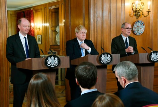 FILE - In this Monday, March 9, 2020 file photo, from left, Chief Medical Officer for England Chris Witty, Britain's Prime Minister Boris Johnson and Chief Scientific Adviser Patrick Vallance speak during a press conference about coronavirus in 10 Downing Street in London. Britain botched its response to the coronavirus the first time around. Now many scientists fear its about to do it again. The virus is on the rise again in the U.K., which has recorded almost 42,000 COVID-19 deaths, with confirmed infections at their highest level since May. (AP Photo/Alberto Pezzali, File)