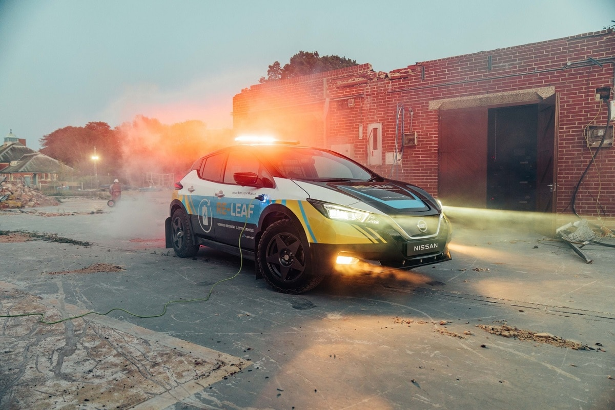Meet the Nissan Leaf EV Prototype That Can Produce Electricity for an Emergency Response