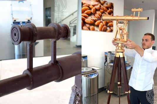 Video grab of chocolate telescope in-making. (Credit: Facebook/ @Amaury Guichon)