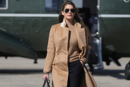 Hope Hicks, an adviser to U.S. President Donald Trump walks to Air Force One to depart Washington with the president and other staff on campaign travel to Minnesota from Joint Base Andrews, Maryland, U.S., September 30, 2020. REUTERS/Leah Millis