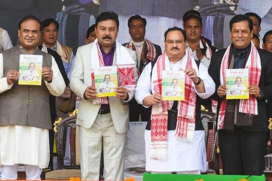 BJP president JP Nadda with Assam CM Sarbananda Sonowal and finance minister Himanta Biswa Sarma. PTI file photo