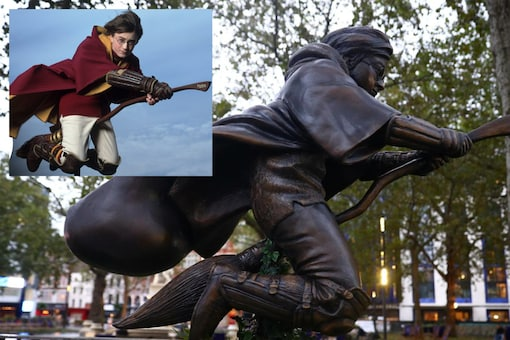 A bronze statue of Harry Potter on his broomstick while playing Quidditch has been put up in Leicester, London   Image credit: Reuters/Youtube (inset)