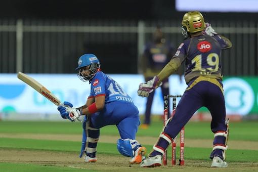 Prithvi Shaw in action against KKR. (Twitter)