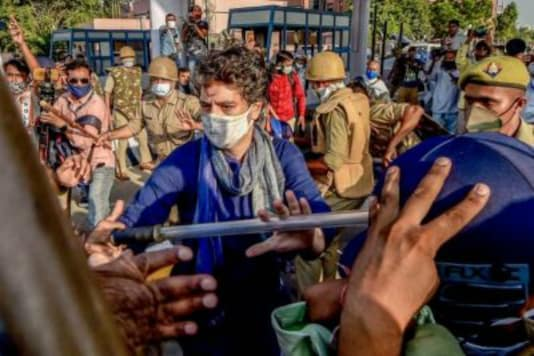 Congress leader Priyanka Gandhi Vadra was pushed and manhandled on Saturday while she came to the rescue of a party worker, who was being lathi charged by Uttar Pradesh police at the Delhi-Noida Direct (DND) Flyway when Priyanka, Rahul Gandhi and several Congress workers were trying to go to Hathras to meet the family of the victim.