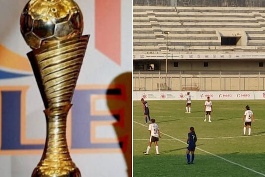 I-League trophy (L) and an image from IWL 2019-20 (Photo Credit: PTI and News18)