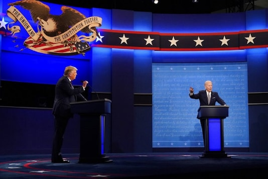 Democratic presidential candidate former Vice President Joe Biden speaks during the first presidential debate with President Donald Trump Tuesday, Sept. 29, 2020, at Case Western University and Cleveland Clinic, in Cleveland, Ohio. (AP)