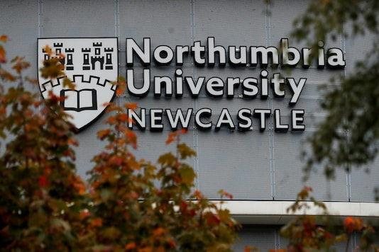 A view shows a logo of Northumbria University, where over 700 students tested positive for the coronavirus disease (COVID-19), in Newcastle, Britain. (Credit: REUTERS)
