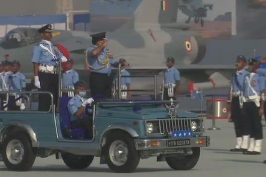 IAF Chief Air Chief Marshal Rakesh Kumar Singh Bhadauria inspects the 88th Indian Air Force Day parade at Hindon airbase.