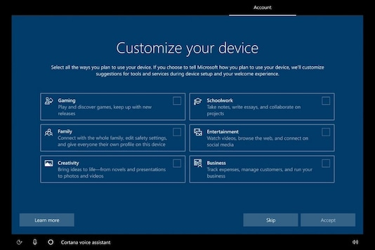 A New Windows 10 Setup Screen Wants To Know If You Use The PC For Schoolwork, Gaming Or Business