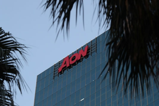 An office building with Aon logo is seen amidst the easing of the coronavirus disease (COVID-19) restrictions.