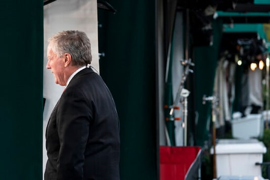 White House chief of staff Mark Meadows does a television interview at the White Hous, in Washington. (AP Photo)