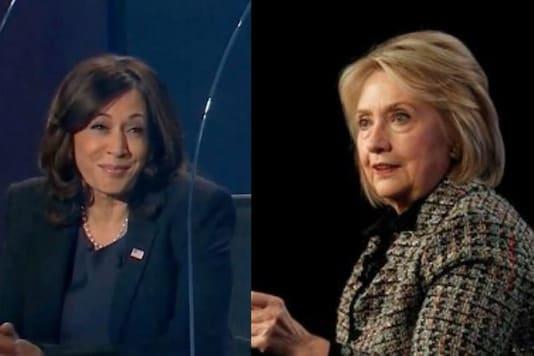 File photos of Kamala Harris and Hillary Clinton