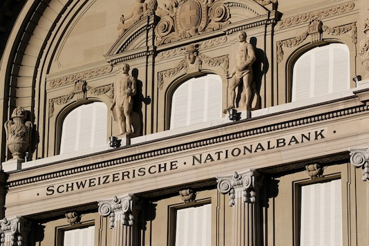 Statues are seen on the building of the Swiss National Bank (SNB) in Bern, Switzerland May 20, 2020. (REUTERS)